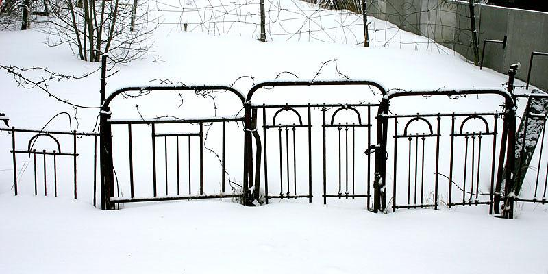 Забор из железных спинок кроватей