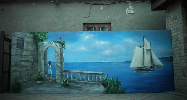 Рисунок воды на заборе